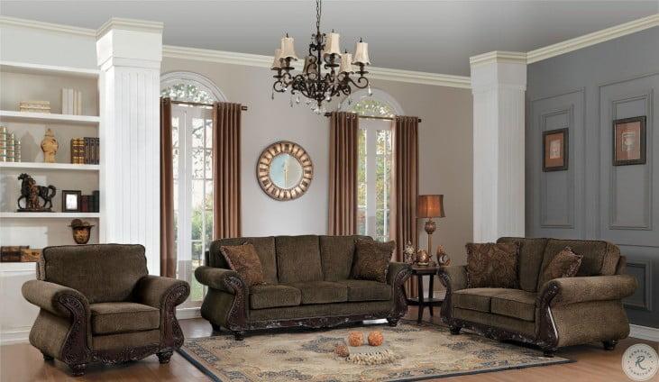 Mandeville Brown Chenille Living Room Set