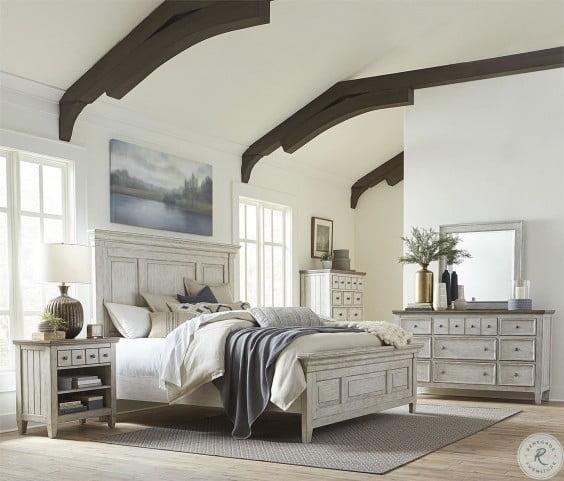Heartland Antique White Panel Bedroom Set