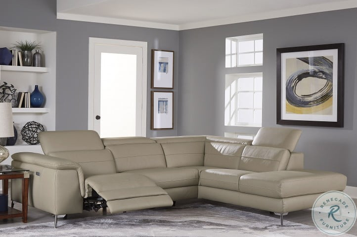 Cinque Taupe Leather Power Reclining Sectional From Homelegance Homegallerystore Com 8256