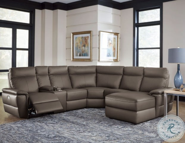 Olympia Raisin 6 Piece Modular Power Reclining With Right Chaise RAF Sectional