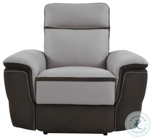 Laertes Two Tones Gray Leather Power Double Reclining Living Room Set