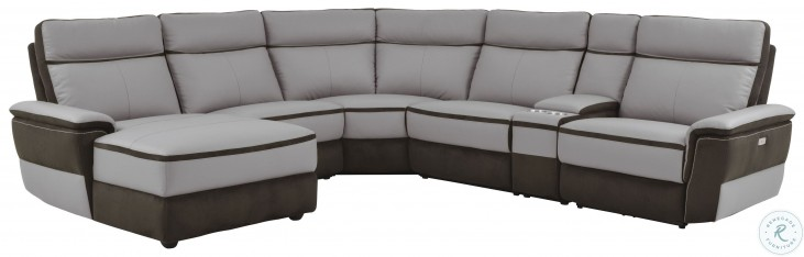 Laertes Two Tones Gray Power Reclining Small LAF Sectional