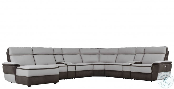 Laertes Two Tones Gray Power Reclining Large LAF Sectional