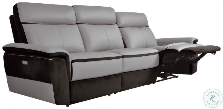 Laertes Two Tones Gray Leather Power Double Reclining Sofa