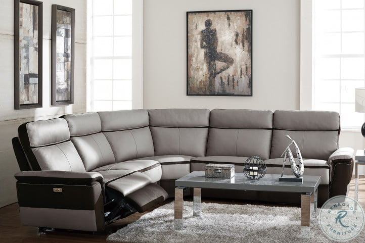 Laertes Two Tones Gray Power Reclining Sectional
