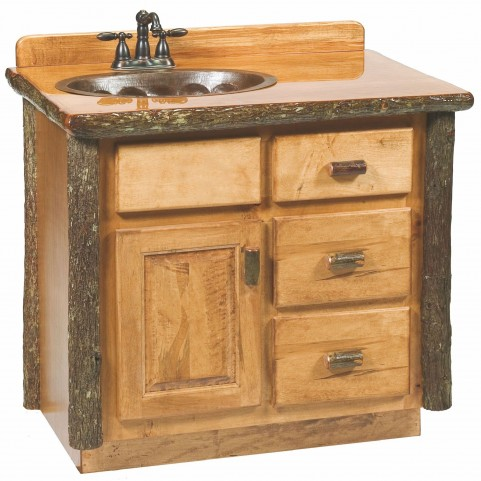 "Hickory 60"" Left Side Vanity with top"