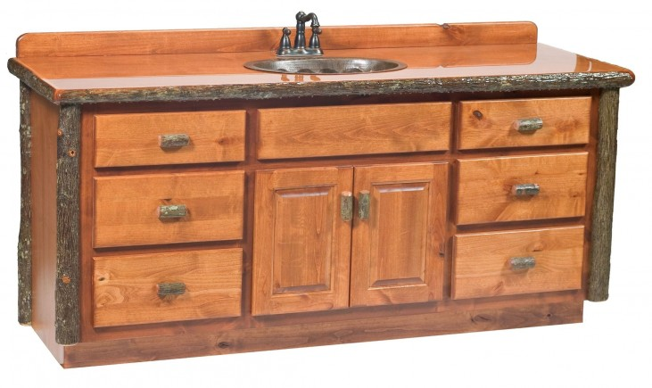 "Hickory 72"" Sink Center Vanity with top"