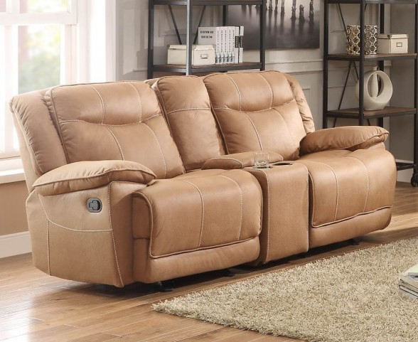 Wasola Brown Double Glider Reclining Console Loveseat