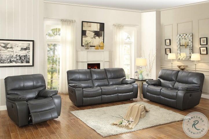 Pecos Gray Power Double Reclining Living Room Set