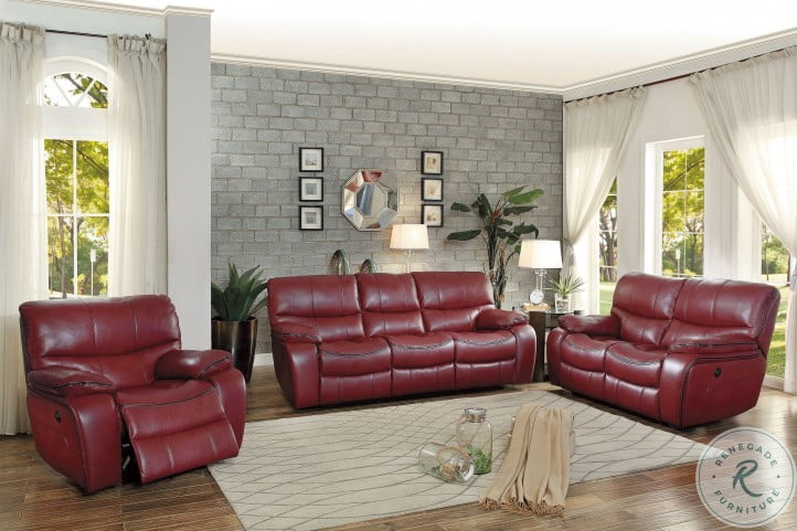 Pecos Red Power Double Reclining Living Room Set