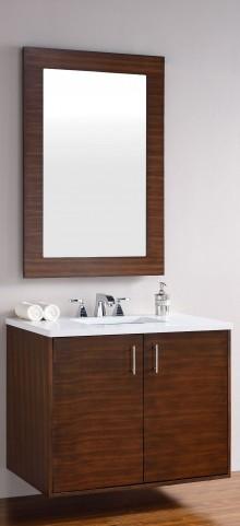 "Metropolitan 36"" American Walnut Single Vanity With 3Cm Snow White Quartz Top"
