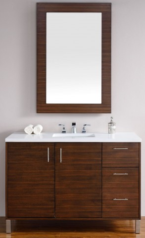 "Metropolitan 48"" American Walnut Single Vanity With 3Cm Snow White Quartz Top"