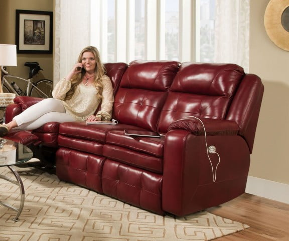 Inspire Red Double Power Reclining Sofa with Power Headrest