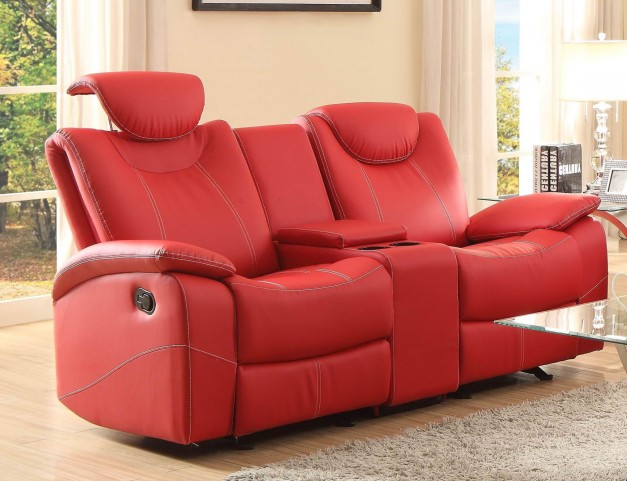 Talbot Red Double Glider Reclining Loveseat With Console