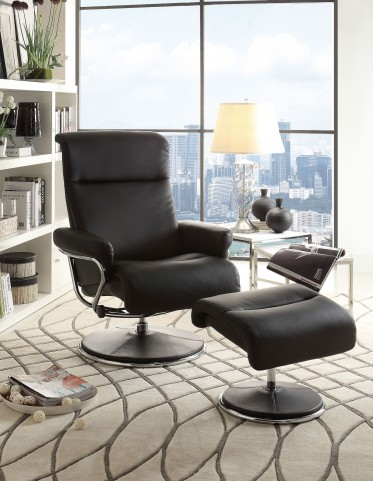 Caius Black Swivel Reclining Chair With Ottoman