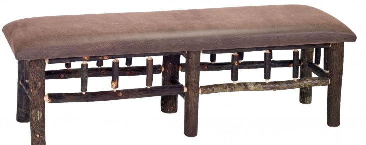"""Hickory 48"""" Upholstered Seat Bench"""