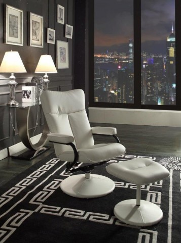 Alida White Swivel Reclining Chair With Ottoman