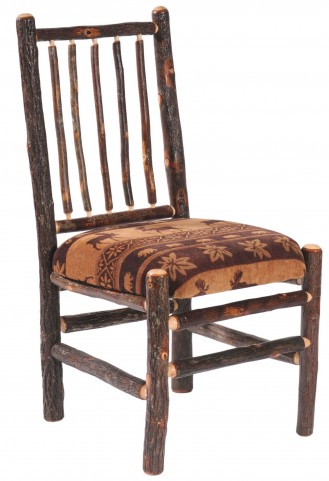 Hickory Upholstered Seat Standard Fabric Spoke Back Side Chair