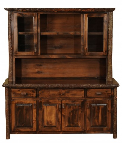 """Hickory 75"""" Espresso Buffet and Hutch with Shelving"""