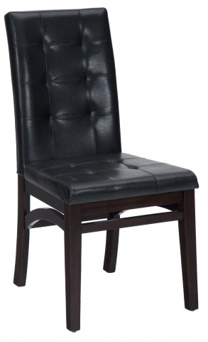 Chadwick Espresso Faux Leather Tufted Back Upholstered Dining Chair Set of 2