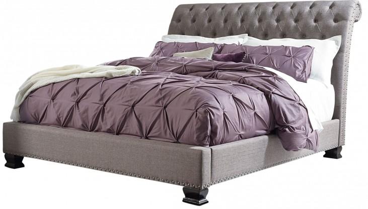Garrison Soft Grey King Upholstered Bed
