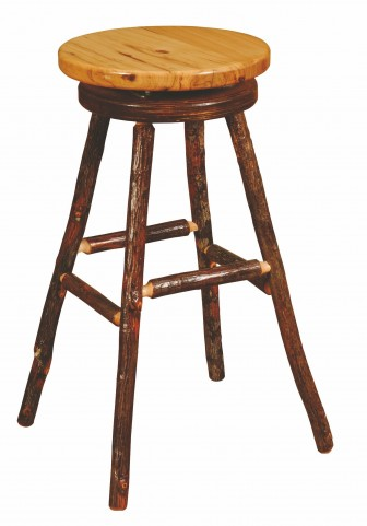 """Hickory 24"""" Hickory Seat Round Counter Stool"""