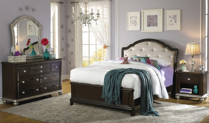 Glamour Youth Black Cherry Panel Bedroom Set