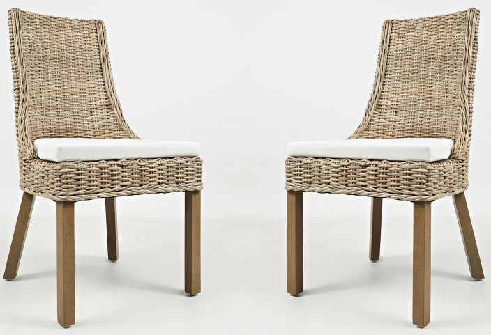 Hampton Road Transitional Rattan Cushion Dining Chair Set of 2