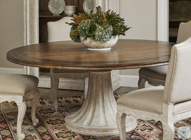 Thoroughbred White Gesso 72 Round Dining Table