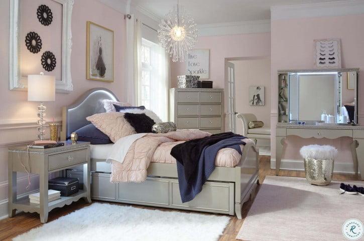 Glitz And Glam Platinum Youth Trundle Panel Storage Bedroom Set