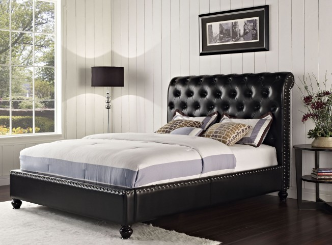 Stanton Bed-N-Box Black Queen Upholstered Bed