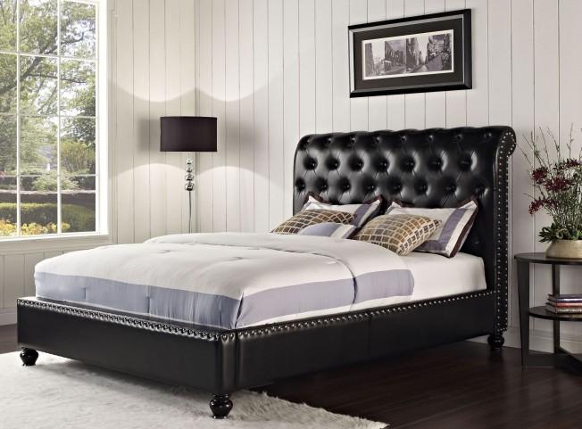 Stanton Bed-N-Box Black King Upholstered Bed