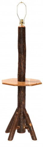 Hickory Floor Lamp with Shelf without shade