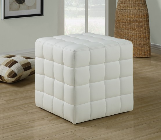 8978 White Leather-Look Ottoman