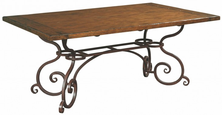 "Artisans Shoppe 72"" Tobacco Rectangular Dining Table with Metal Base"