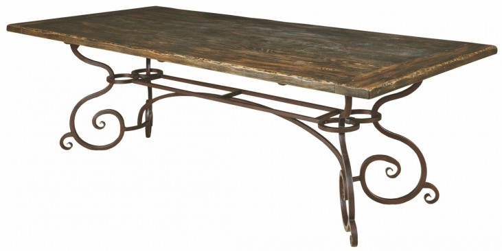 """Artisans Shoppe 94"""" Black Forest Rectangular Dining Table with Metal Base"""