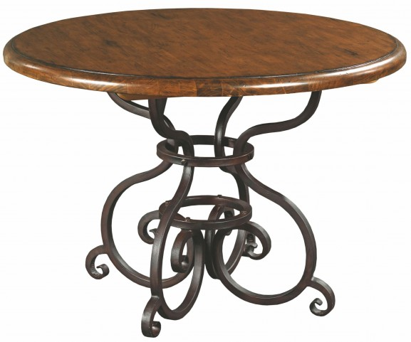 """Artisans Shoppe 44"""" Tobacco Round Dining Table With Metal Base"""