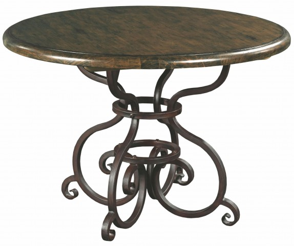 """Artisans Shoppe 44"""" Black Forest Round Dining Table with Metal Base"""