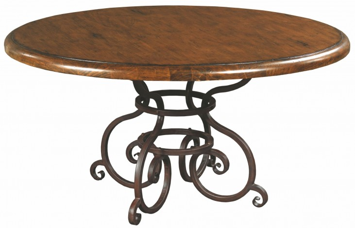 """Artisans Shoppe 60"""" Tobacco Round Dining Table With Metal Base"""
