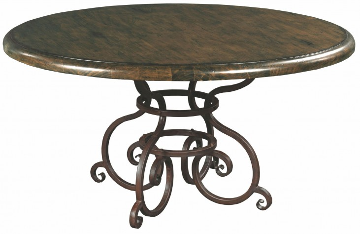 "Artisans Shoppe 60"" Black Forest Round Dining Table With Metal Base"
