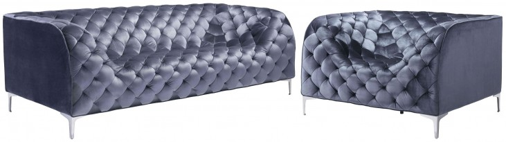 Providence Gray Velvet Living Room Set
