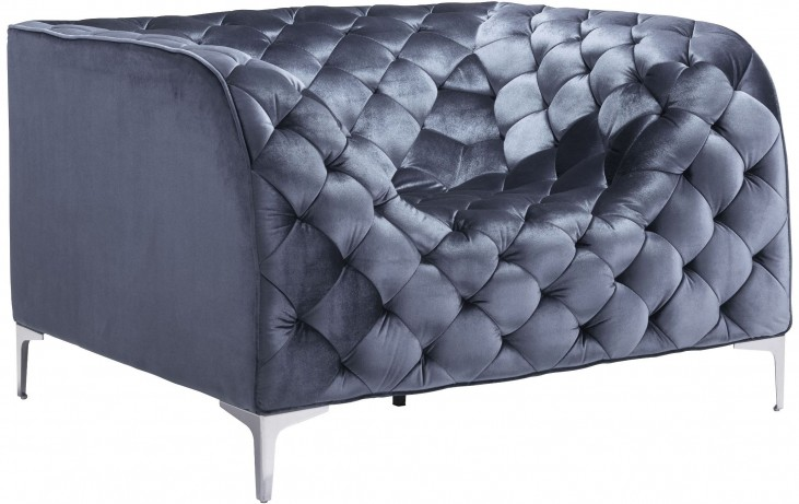Providence Gray Velvet Arm Chair