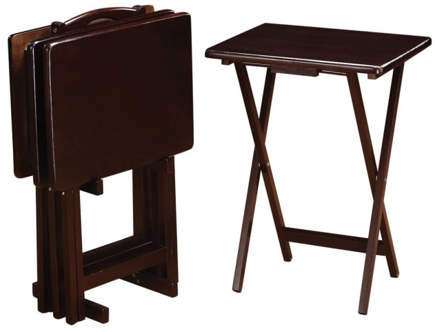 901081 Cappuccino 5Pc Tray Table Set