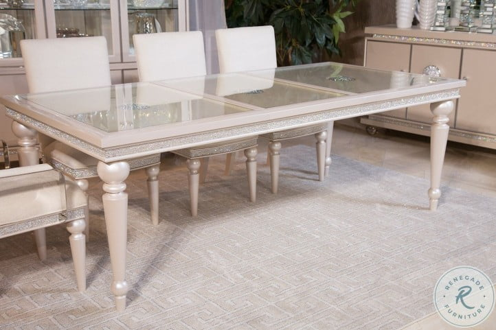 Glimmering Heights Ivory Rectangular Extendable Dining Room Set
