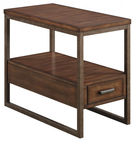 Light Brown Drawer Chairside Table