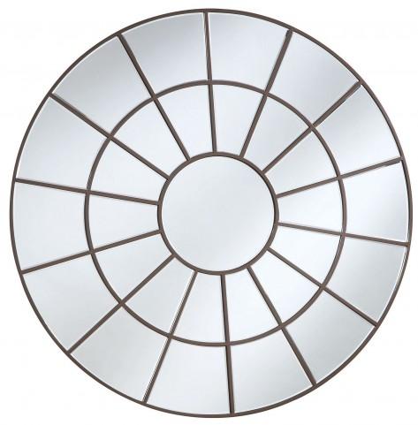 Brown Decorative Circular Mirror