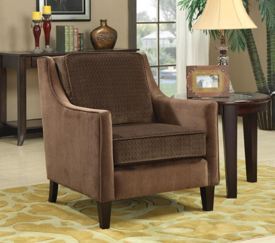Brown Basket-Weave Microvelvet Accent Chair 902043