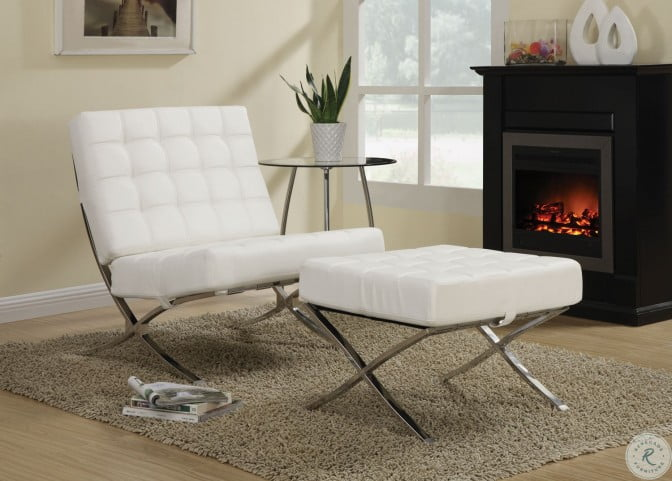 Terrific 902183 White Chrome Accent Chair Inzonedesignstudio Interior Chair Design Inzonedesignstudiocom
