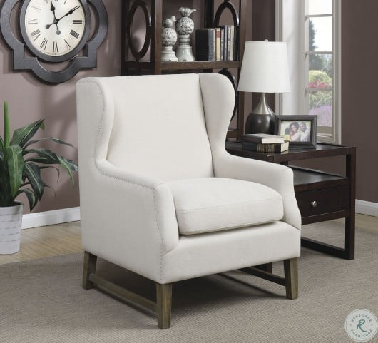 902490 Cream Wingback Accent Chair