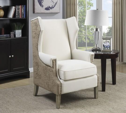 Brown Linen-Like Fabric Chair
